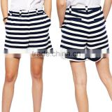 2014 Summer new design fashion ladies cotton blend black and white hot short pants elegant girls striped high-waist shorts