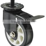 Threaded Stem Plastic Core Caster Black PU Industrial Caster Wheel