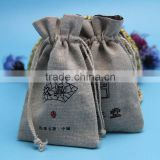 Hot selling jute recycled drawstring packing gift bag wholesale