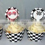 KIDS BIRTHDAY Baking Supplies / cake Accessories Black and White Checkered Flag Race Car Cupcake Wrappers