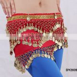 Affordable tribal belly dancing crochet coins hip scarf belly dance hip belt with paillettes