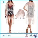 Customize Ladies Fashion Cardigans Summer Beach Wear Embroidery Kimono Batwing Sleeve