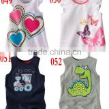 brand new summer 100% cotton sleeveless tops gils t shirts