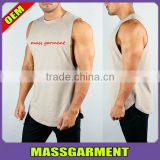 MS-1941 Custom High Quality Quick Dry Cotton Gym Sleeveless Top Bodybuilding Print Extended Scoop Bottom Tank Top Men