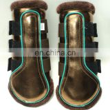 GOLD PATENT HORSE BRUSHING BOOTS