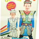 DIY painting your own non-woven costume for kids with color crayon