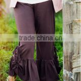New collection Black Ruched Big Ruffle Pants