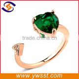 Yiwu cheap price gold adjustable heart shape ring design for girl