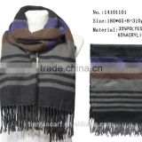 mixed material winter knitted scarf w tassel classic striped design long scarfs factory china