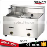 2016 china commercial kitchen equipment as seen tv stainless steel 2-tank gas fryer GF-72