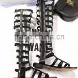 Fashion Ladies Flat Cut-out Knee High Gladiator Sandals Studded Hollow Out Sexy Summer Boots