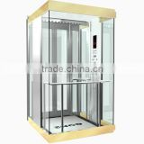 2016 new technology small machine room observation elevator with glued glass of safety clamp