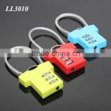 Steel Wire Resettable 3 Digit Combination Travel Luggage Suitcase Padlock Alloy T-shirt Metal Digital Locker Lock