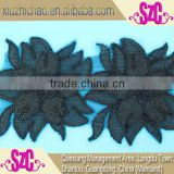 indian black cord organza applique embroidery beaded lace motifs