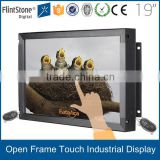 "15-55"" flexible embedded vending machine lcd advertising screen, IR touch screen hdmi open frame, kiosk frameless lcd monitor"