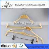 Bulk Cheap Laminated clothed wooden hanger With Clips                                                                         Quality Choice
