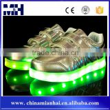 Footwear Lace Up 7Colors Flashing Glowing Light Up Kids Led Shoes Sliver