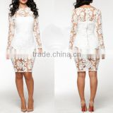 Zipper sexy fashion conjoined suit white lace dress,latest dress designs photos, dress stitching designs
