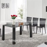 "L856 31"" W black Contemporary dining table Desk with High gloss tempered glass top"