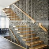 contemporary floating staircase with wood tread invisible stringer straight stairs                                                                         Quality Choice