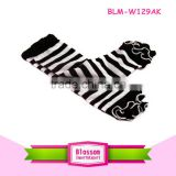 Black stripes fashion cotton baby leg warmers with cotton ruffle