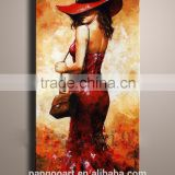 Hot seller 100% sastisfaction a man is rowwing a boat handmade abstact oil art paintings