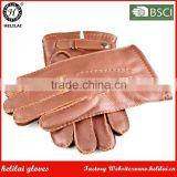 Classic Men 's Brown Leather Strap and Snap Button Topstitching Deerskin Deer Leather Dress Gloves with Wool Lining