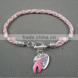 2015 New Pink Ribbon Breast Cancer Awareness Toggle Cross Cord Charm Bracelet With Silver-plated Heart