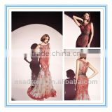 2014 Fashion Style Tull and Lace Bateau Neckline Mermaid Gown with Appliqued Evening Dresses in Wine Color (EVDT-1002)