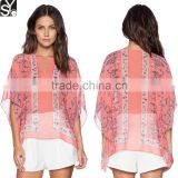 Summer V Neck Pink Semi Sheer Batwing Sleeve Ladies Blouse,Pull Over Style Chiffon Latest Tops Designs Girls