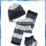 stripe and cable knit baby hat scarf gloves set/baby knitted hat scarf glove set/cute scarf hat gloves sets