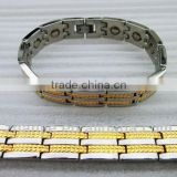 broad wide gold plated wheat pattern titanium bracelet with germanium stones