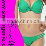Wrinkle Pushed-Up Padded Bikini with Hollow-Out Panty Sexy Fashion Modern Bikini Swimwear NA96-green
