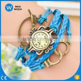 China Cheaper Women Vintage Leather Quartz Watch Retro Bird lock Pendant Bracelet Lady Woman Wrist Watch VW007
