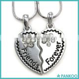 Best Friends Forever Heart Necklace Two Pendant Charm Clear Rhinestone Teens Girls Engraved Letters