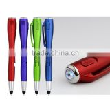 Wholesale multi-function practical Led laser light stylus ball-point pen with white flashlight