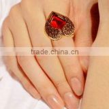Red Crystal Invisible Double Angel Wings Peach Heart Rings For Women