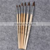 Horse Hair Bristles Brush Wooden Watercolor Oil Drawing Pen Round Paint Brush Set Of 6pcs