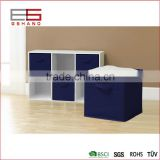 Classical blue color folding fabric closet storage box with strong handle