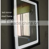 2016 carton fair shows world BEST brightly LED light backlit stainless steel framed bathroom led mirror with touch screen button