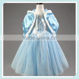 Chiffon Cosplay Princess Dress Baby Girls Festival Cosplay Costume Blue Cloak Dress for Winter Party Snow Queen Costume Clothes