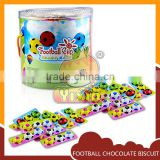 Football shape merci chocolate coated filling biscuit