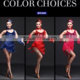 Performance Lady Stage Blue Sequin Tassel Latin Dance Costumes Adult