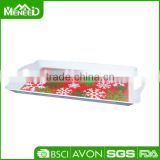 Promotion snowflake & tree printed X'mas banquet serving trays, anti-slip Christams party melamine plastic food tray with handle