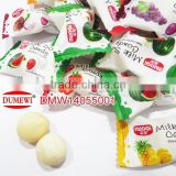 jelly filled soft chewing ball milk flavor multi fruit candy