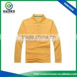 yellow high quality long sleeve cotton fabric pique polo shirt,soft golf apparel for men