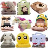 Custom Cute 2 in 1 Bear Owl Elephant Bunny Emoji Unicorn Doll Blanket Toy Soft Animal Head Plush Baby Pillow Blanket for Travel