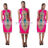 African Dashiki print cotton Women Sexy Sleeveless Bodycon Dashiki African Tribes Print Midi Club Party Dress women Dresses