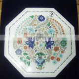 White Marble Inlay Table Top Stone Inlaid Table Top