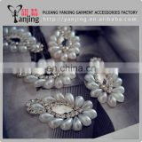 Factory main product !4.5*2.5CM Clear Silver beaded pearl wedding Dress flower Appliques